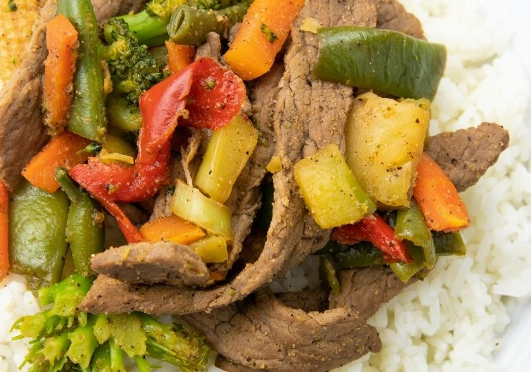 stir fry with rice on plate