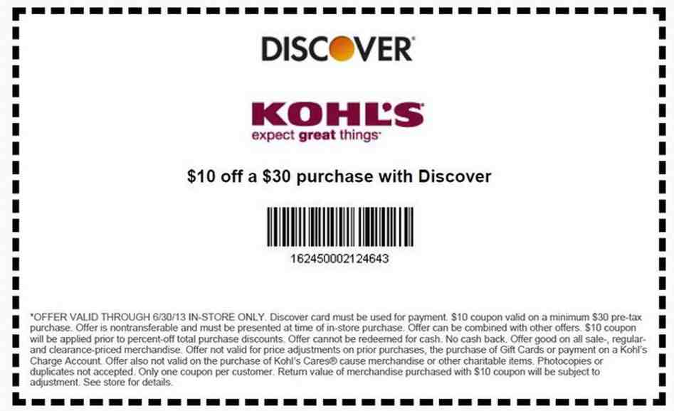 Kohls discount printable coupons