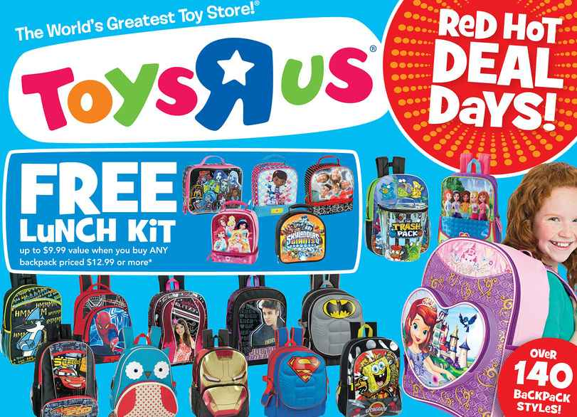 Toys R Us | FREE Lunch Box wyb a Backpack for Back to School