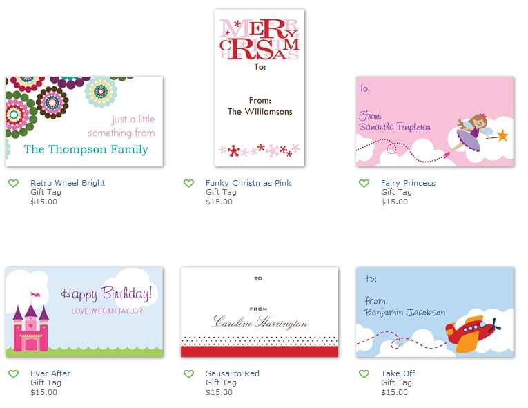 Gift Tags Shutterfly