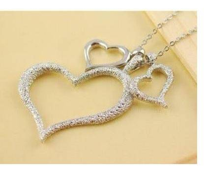 Silver Three Heart Necklace