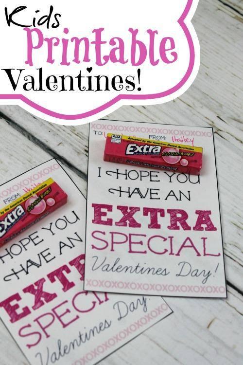Kids Printable Valentines Using Extra Gum