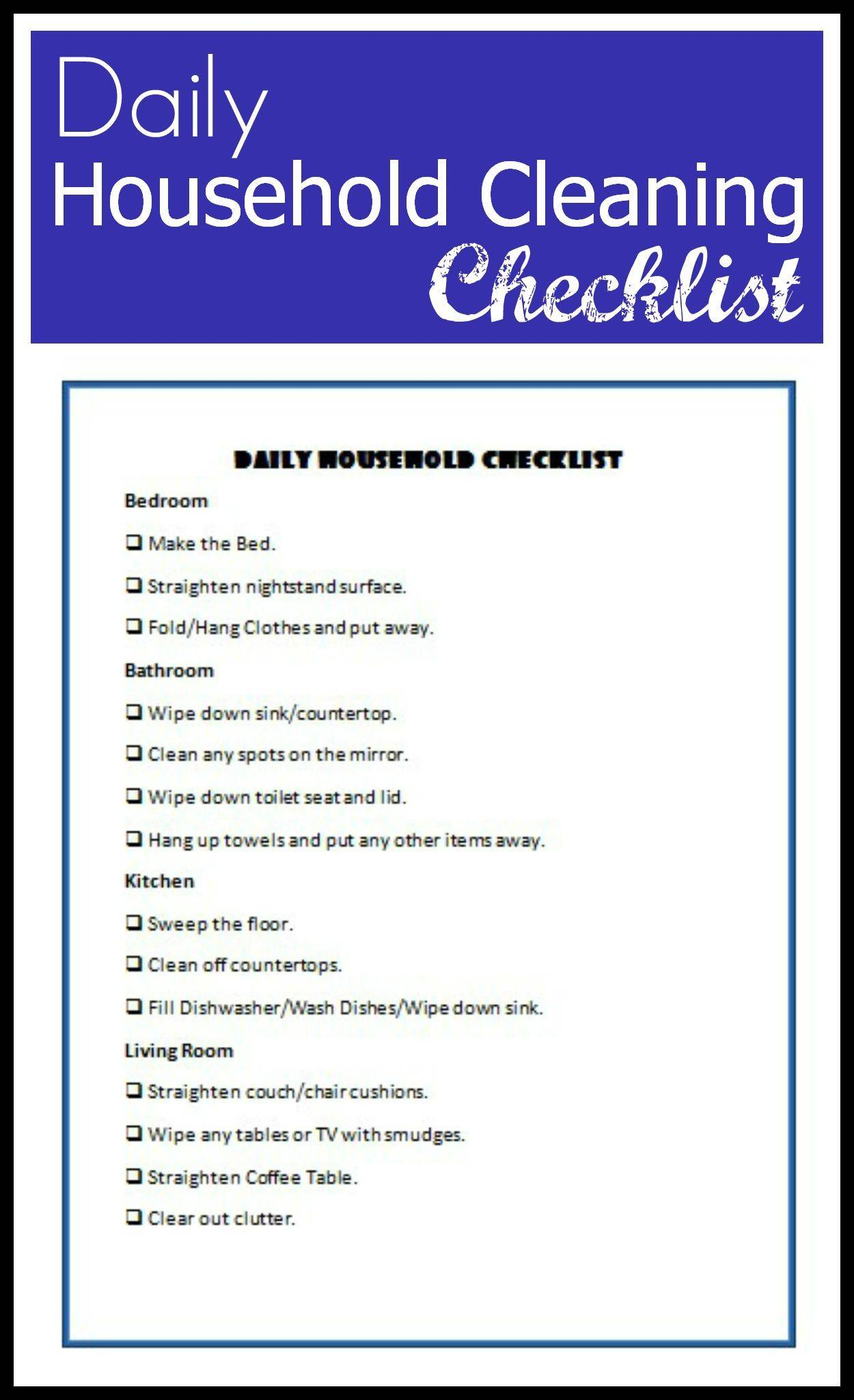 Daily Household Cleaning Checklist