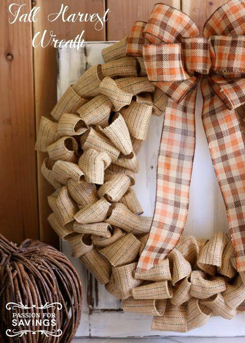 DIY Fall Harvest Wreath idea using burlap