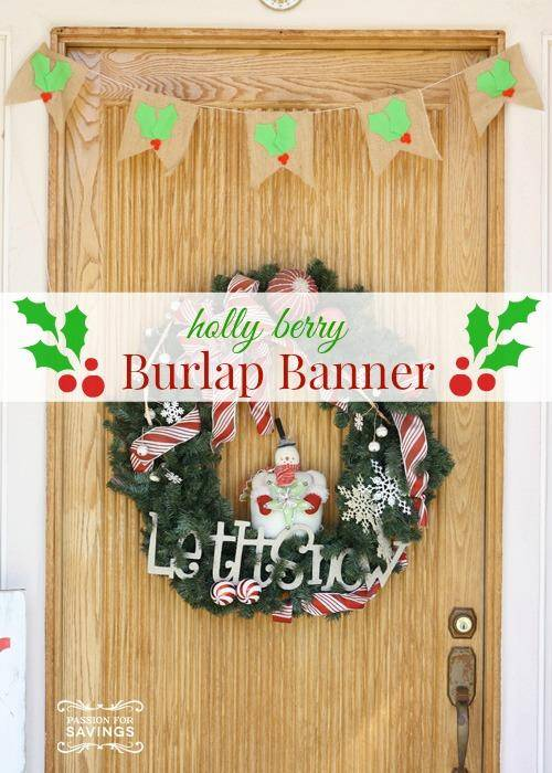 easy christmas decorations | holly berry burlap wreath tutorial