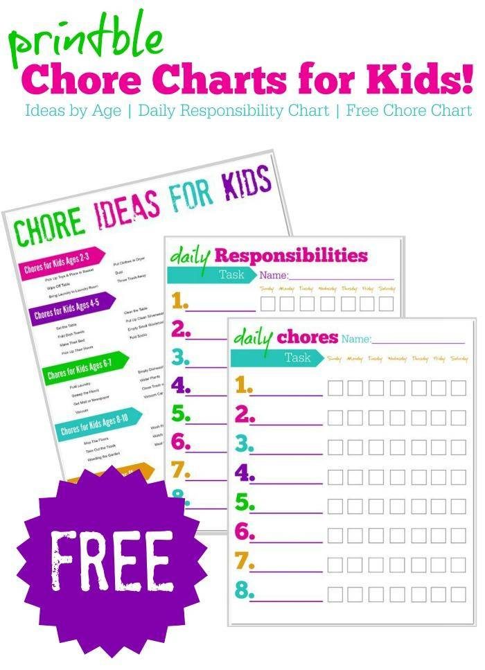 image about Free Printable Chore Chart identified as Cost-free Printable Chore Charts for Little ones + Programs via Age