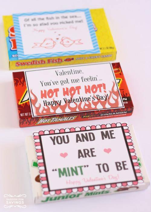 Free printable candy Valentine's Day Cards