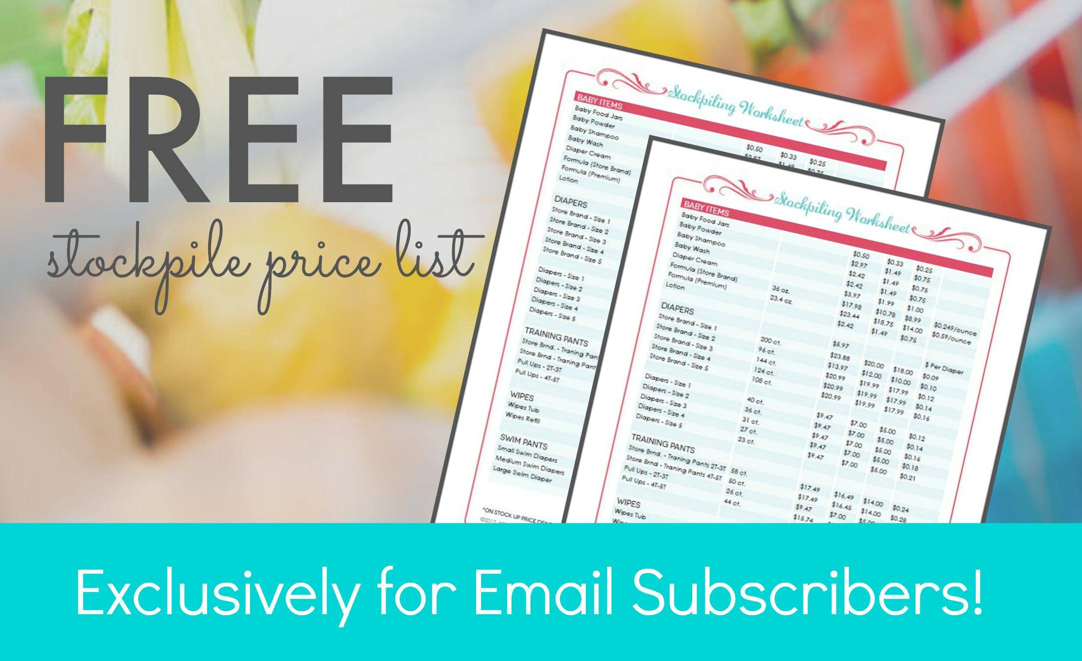 free stockpile price list for email subscribers