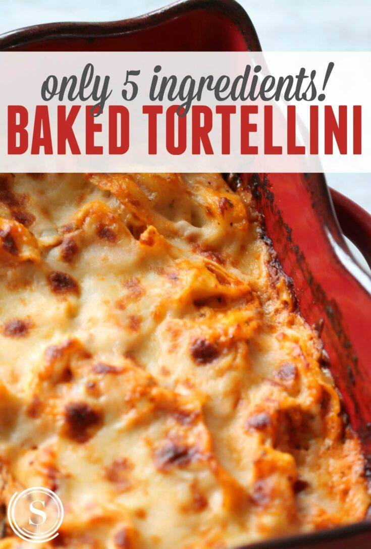 Baked tortellini is a quick and easy to make recipe. This is our go-to tortellini recipe that is cheesy, easy, and feeds the whole family.  #tortellini #pasta #sauce #easy #bake #fiveingredients #quick #affordabledinners #recipes