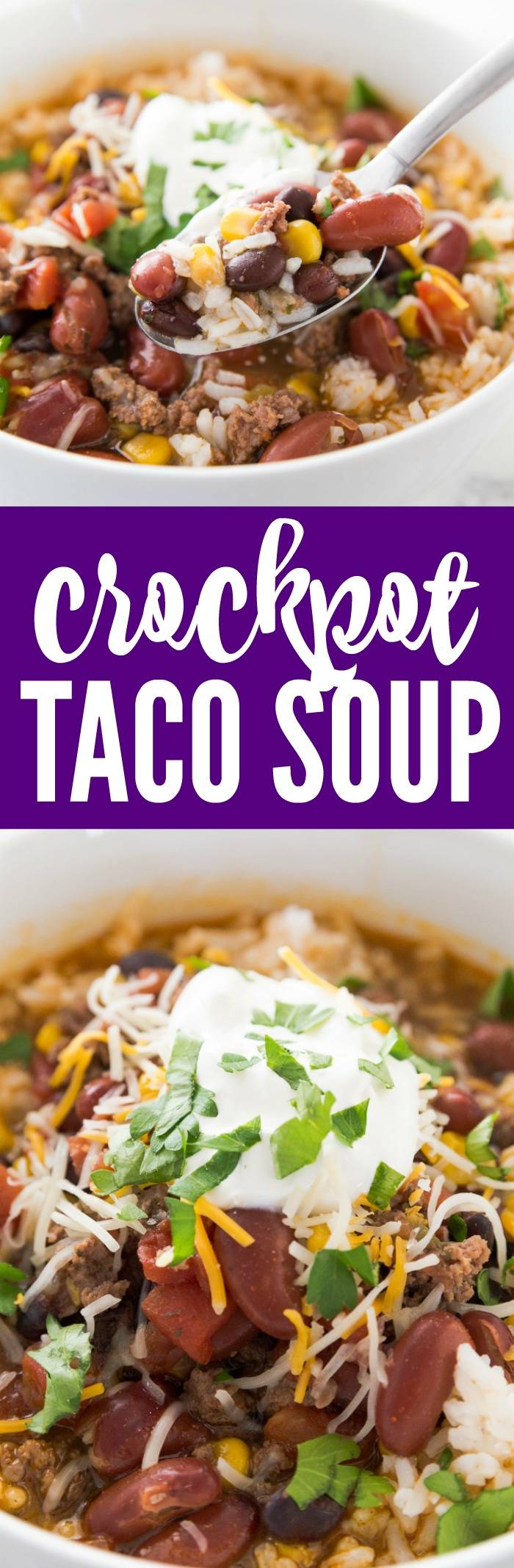 Easy Crockpot Taco Soup Recipe! This 7 Can Slow Cooker Dump Soup is an easy Weekly Dinner Plan idea or freezer meal for kids or a crowd everyone will LOVE!