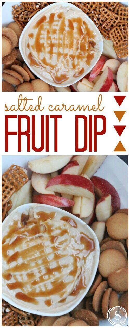 Salted Caramel Fruit Dip Recipe! Homemade Recipe for Super Bowl Parties, Game Day Recipes, and Holidays!