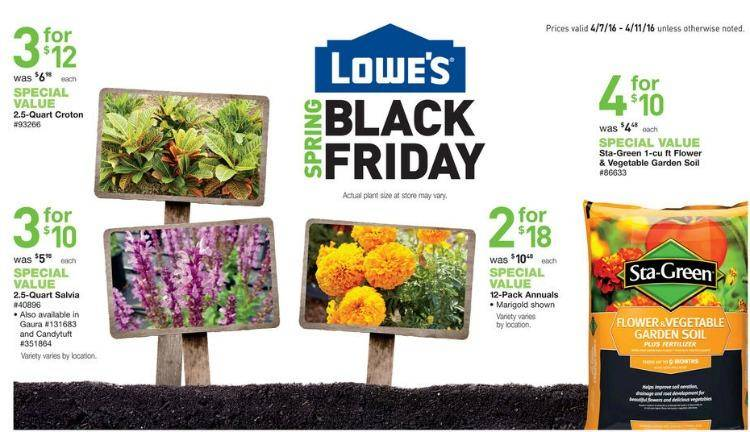 Remember, these Spring Black Friday sales will begin on different dates through out the country. Check to see if your local Lowes has started yet by going to Lowes Spring Black Friday. Most of the deals are in lawn and garden, power equipment, patio furniture, garden tools, trees, plants and shrubs, exterior paint, decking and power tools.