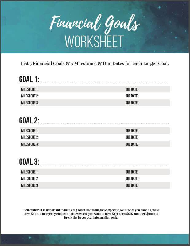 Budget Worksheets for Creating a Personalized Spending Plan – Financial Goals Worksheet
