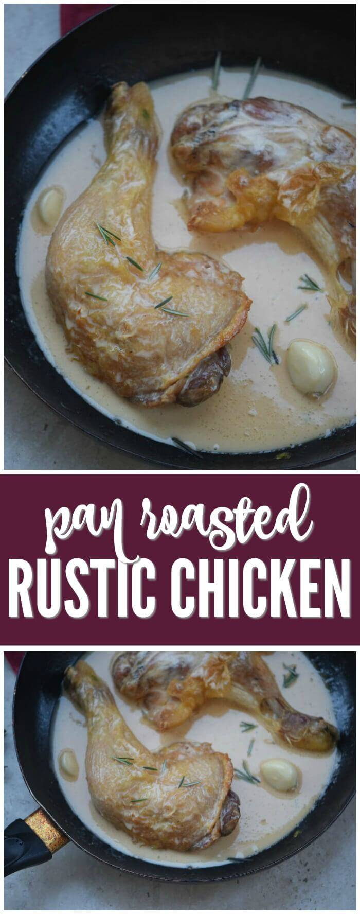 Rustic Pan Roasted Chicken! A family favorite meal idea for dinner. One of our homemade favorite meal ideas that is kid friendly!
