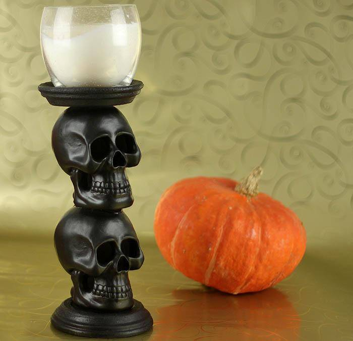 Dollar Store Decorations DIY Skull Candle Holder