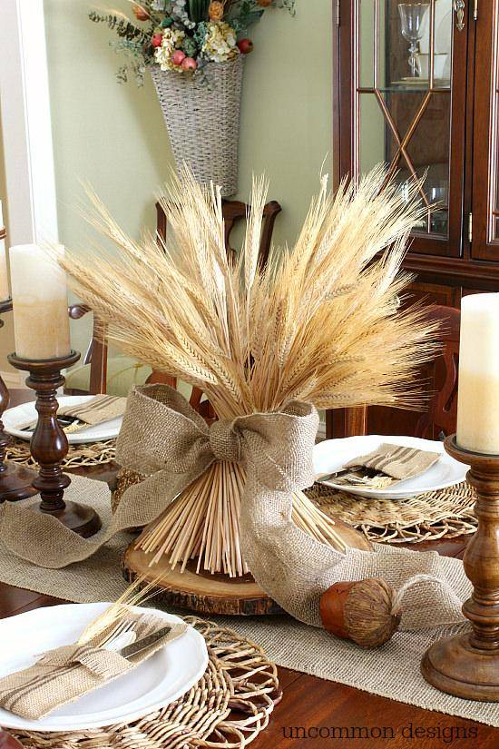 Wheat Bundle Centerpiece Fall Decor Idea