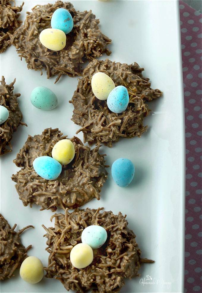 Easy No Bake Chocolate Coconut Nests Easter Cookies