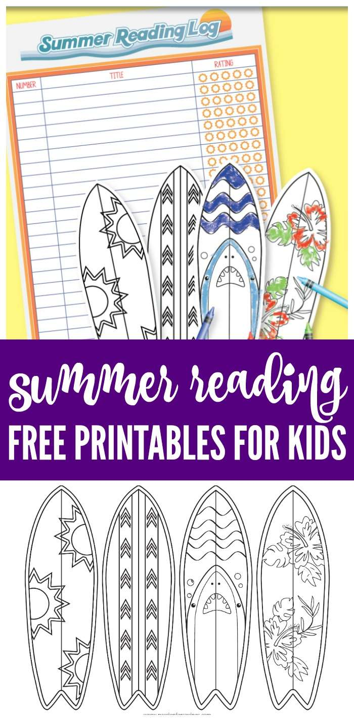 Free Printable Summer Reading Chart for Kids! Track Progress with Adorable Beach Surfing Styled Bookmarks and Free Motivation Reading Chart for Kids!