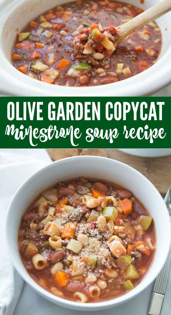 Easy Olive Garden Soup Recipe! Copycat Olive Garden Minestrone Soup Recipe! The BEST Homemade Olive Garden Soup Recipe and Easy Crockpot Fall and Winter Slow Cooker Dinner Meal Plans!