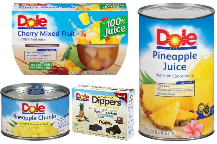 Printable Dole Coupons for Pineapple Juice, Canned Fruit, Fruit Dippers, Fruit Cups and More
