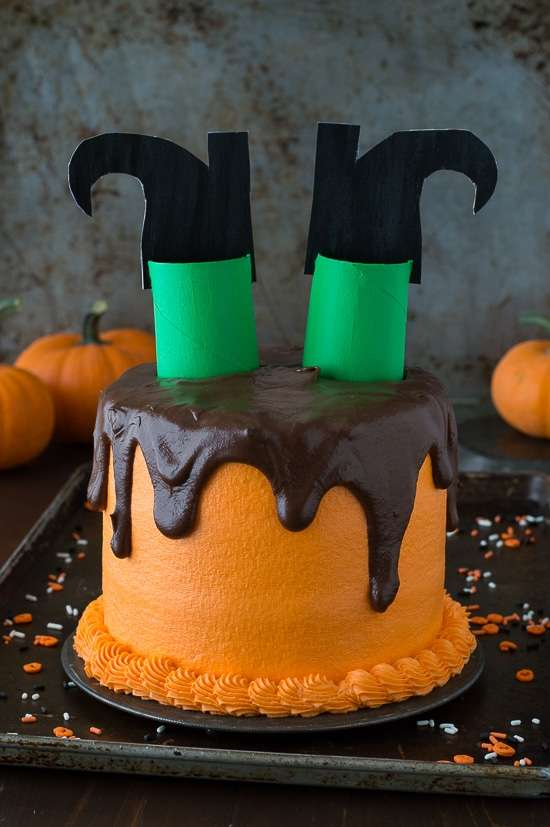 Melted Witch Halloween Cake