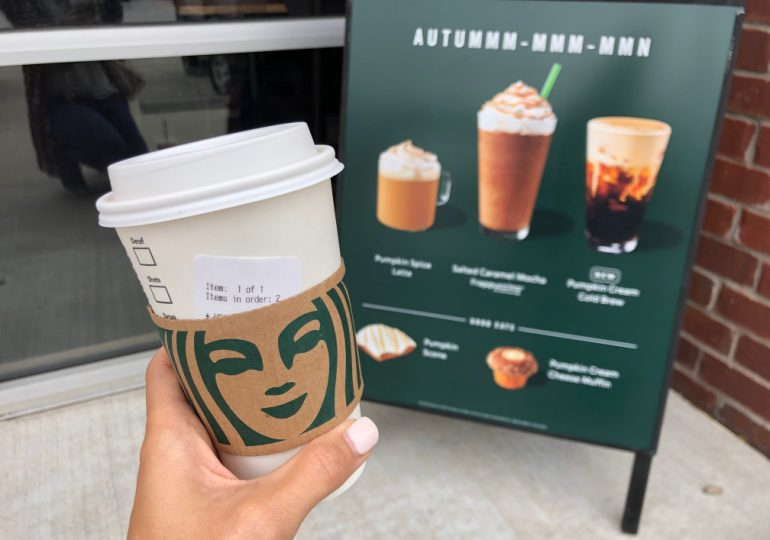 Starbucks Coupon Codes - Pumpkin Spice Latte and sign of fall drinks at Starbucks