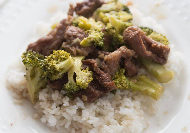 beef and broccoli on a plate