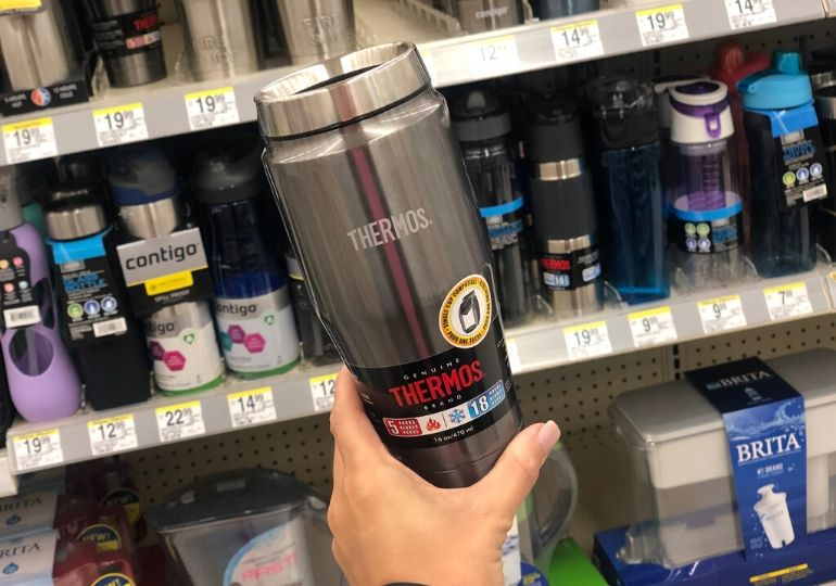 Thermos Deals - holding thermos in store