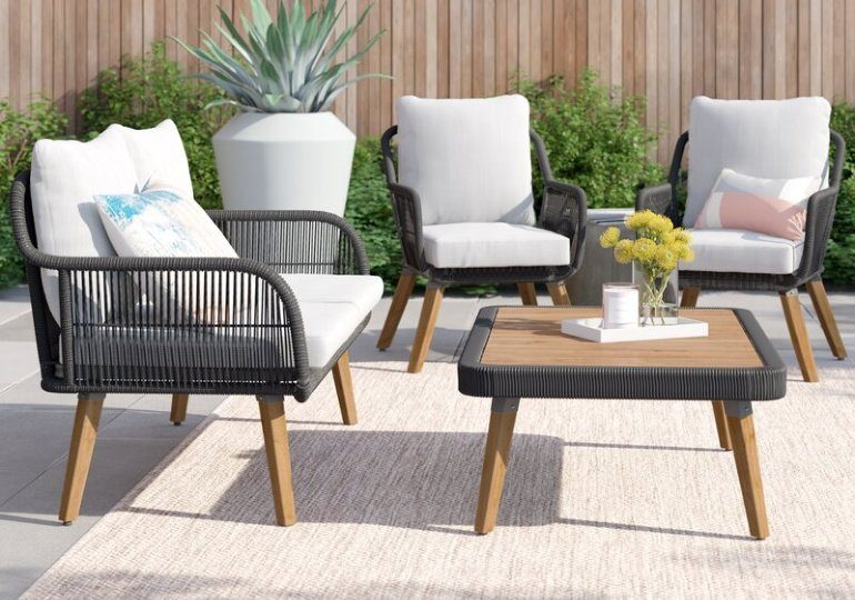 Wayfair Patio Furniture Deals - 3 Chairs with White Cushions and Small brown table
