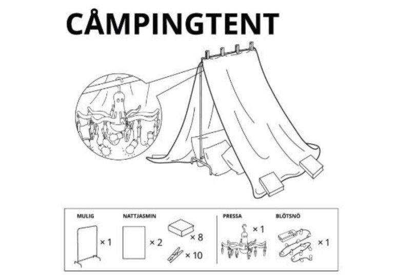 Free Blanket Fort Instructions from IKEA - Camping Tent