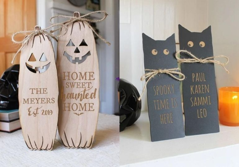 Personalized Halloween Signs - signs displayed in home