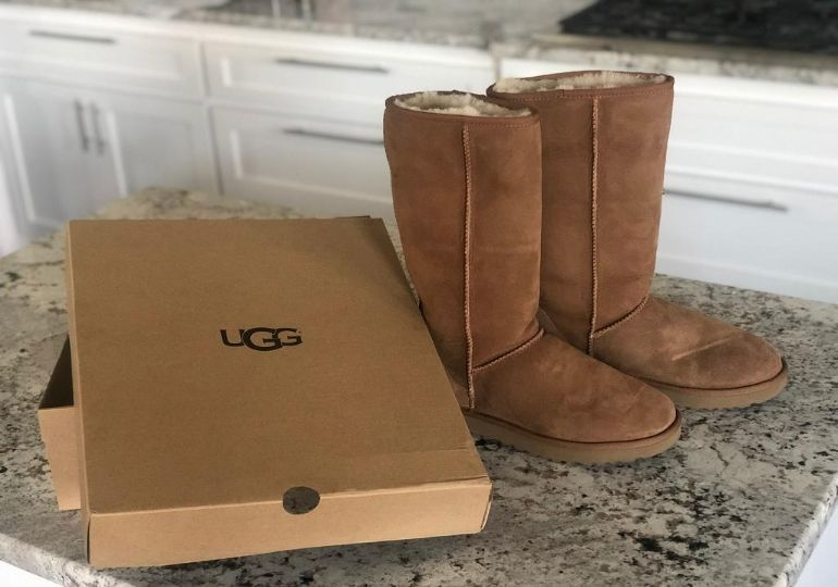 Ugg Boots Sale - boots and box on counter