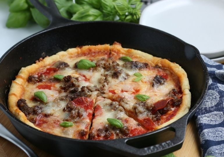 cast iron pizza in a pan