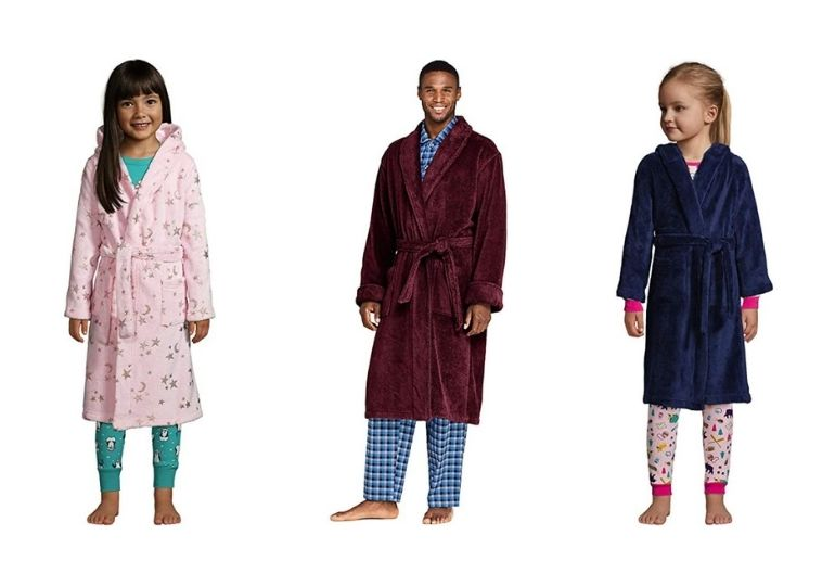 Lands End Fleece Robes on Sale - girls and man in robes