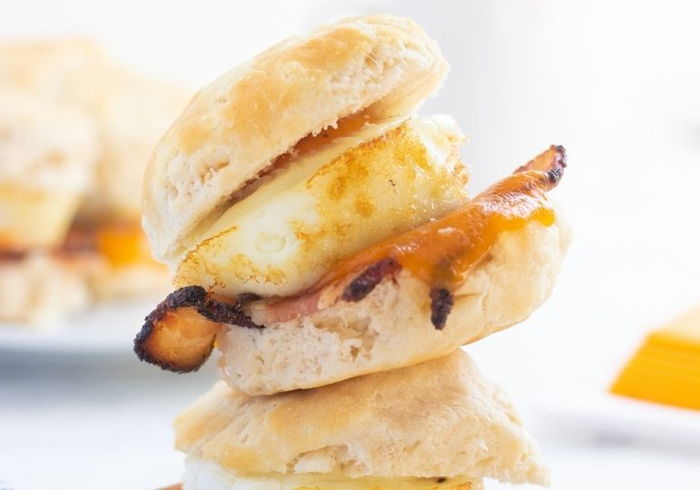 breakfast sandwiches stacked on top of each other