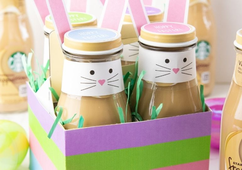 Easter bunny decorated frappuccinos