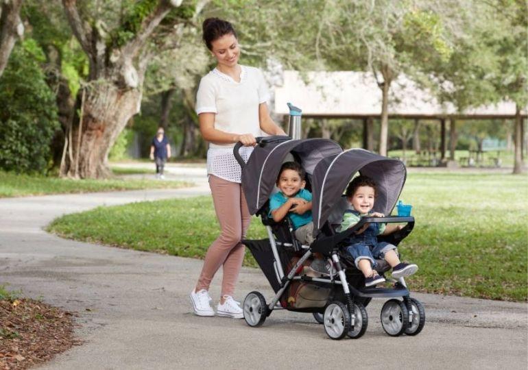 Graco Deals - mom pushing kids in stroller