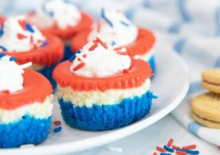 plate with patriotic cheesecakes