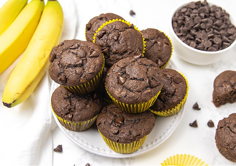 chunky monkey muffins on a plate
